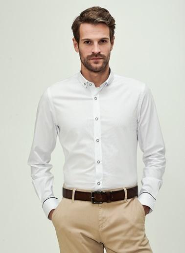 People By Fabrika Düğmeli Yaka Likralı Gömlek Beyaz